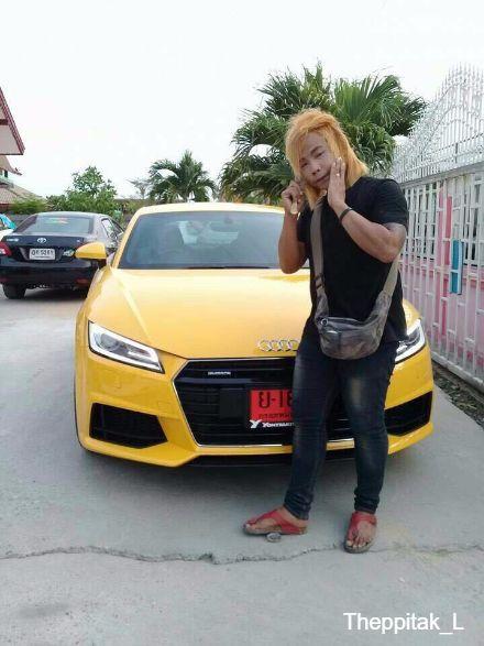 เทพพิทักษ์ แอสละ กับรถสปอร์ต Auqi TT สีเหลืองราคาหลายล้านบาท