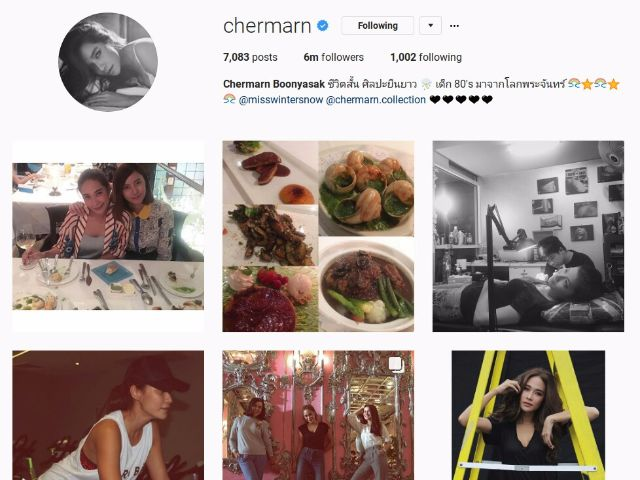 5-chermarn พลอย เฌอมาลย์ บุญยศักดิ์ มีฟอลโลเวอร์มากที่สุดเป็นอันดับที่ห้าของประเทศไทย