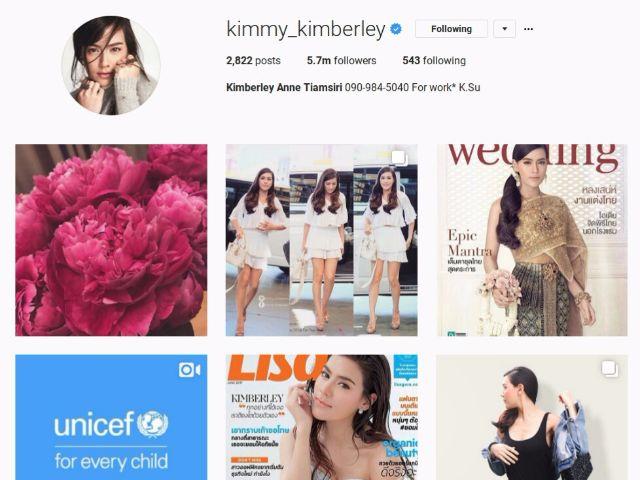 7-kimmy_kimberley คิมเบอร์ลี่ มีผู้ติดตามอินสตาแกรมมากที่สุดเป็นอันดับที่เจ็ดของประเทศไทย
