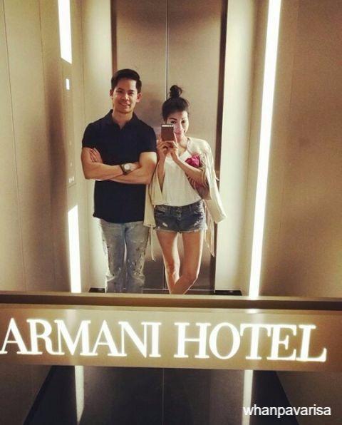 กรณ์ ณรงค์เดช เซลฟี่กับ แหวนแหวน ปวริศรา ที่โรงแรม Armani Hotel อิตาลี