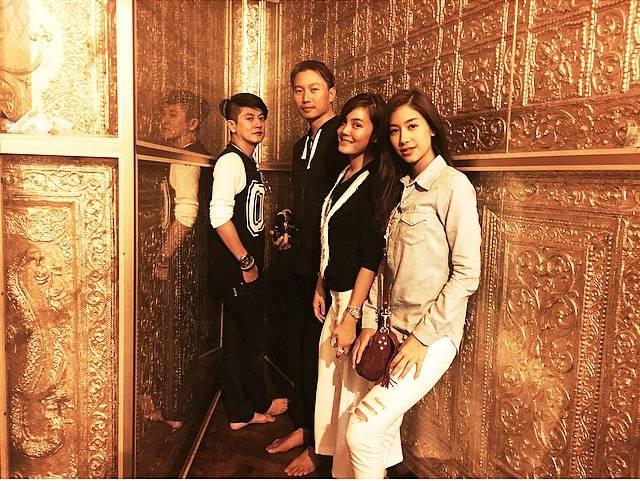 กึ้ง เจนี่ และมิ้นต์ ชาลิดา ไปทำบุญที่ชเวดากอง พม่า 24 มิถุนายน 2558