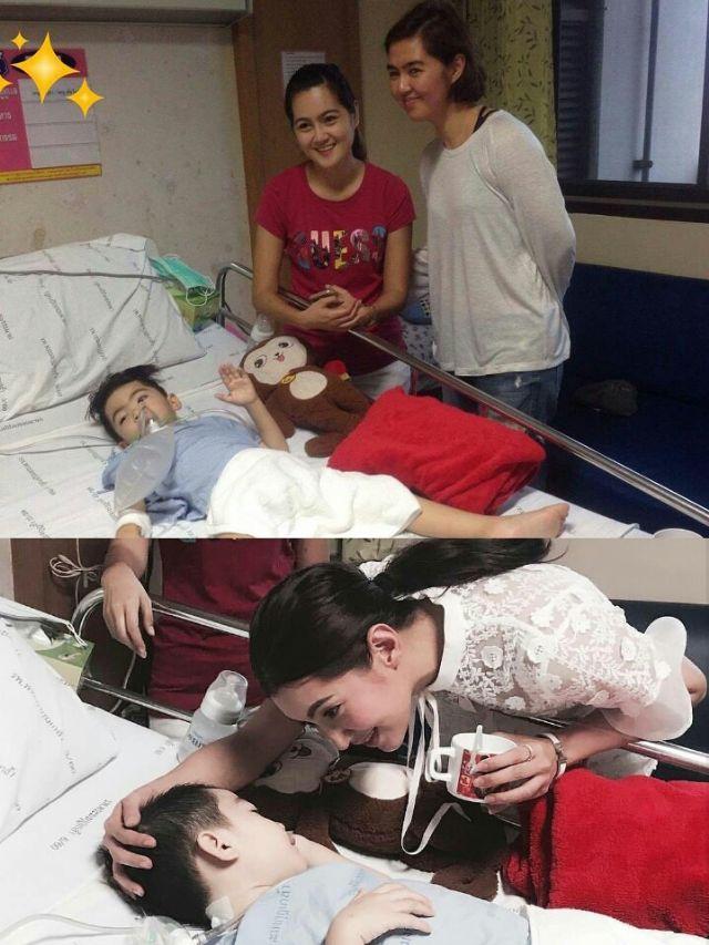 จ๋า ยศสินี กับ เบลล่า ราณี เดินทางมาเยี่ยมน้องสกาย ที่โรงพยาบาลพระมงกุฎเกล้า