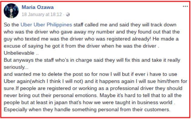 มิยาบิ บอกจะไม่ใช้บริการอีก หลังคนขับอูเบอร์ เอาเบอร์โทรของเธอไปแจกคนอื่น