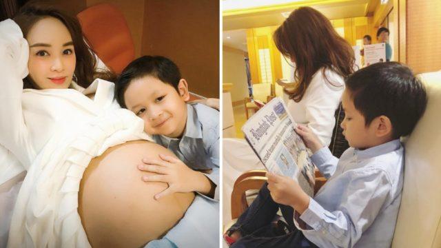 ขณะรอแม่ เป้ย ปานวาด เช็คครรภ์ น้องโปรด ก็คว้าหนังสือพิมพ์มาอ่าน มาดได้จริง ๆ