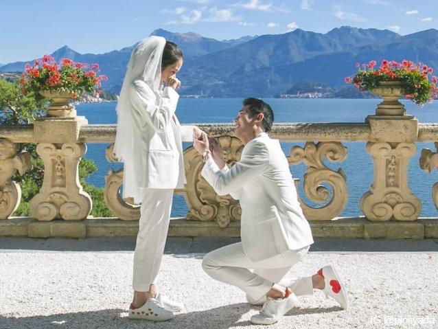 โรแมนติกสุด ๆ : กันต์ คุกเข่าขอ พลอย แต่งงานที่ทะเลสาบโคโม ประเทศอิตาลี