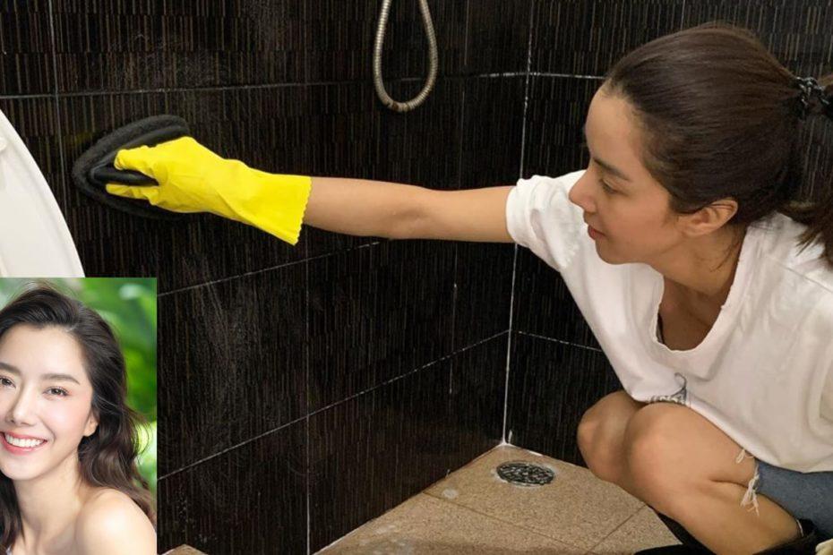 ไอซ์ อภิษฎา สลัดภาพสวยเซ็กซี่ คว้าแปรงล้างห้องน้ำวัด ทำบุญวันพระใหญ่
