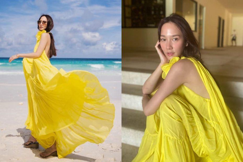 อั้ม พัชราภา โชว์หน้าสดกับเดรสสีเหลือง สวยใสสะดุดตา ยกทะเลภูเก็ตให้แม่ไปเลย